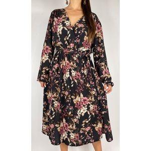 BOOHOO Black Pink Floral Belted Midi Dress Sz 20